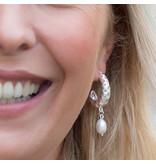 Biba oorbellen zilver bewerkt met parel