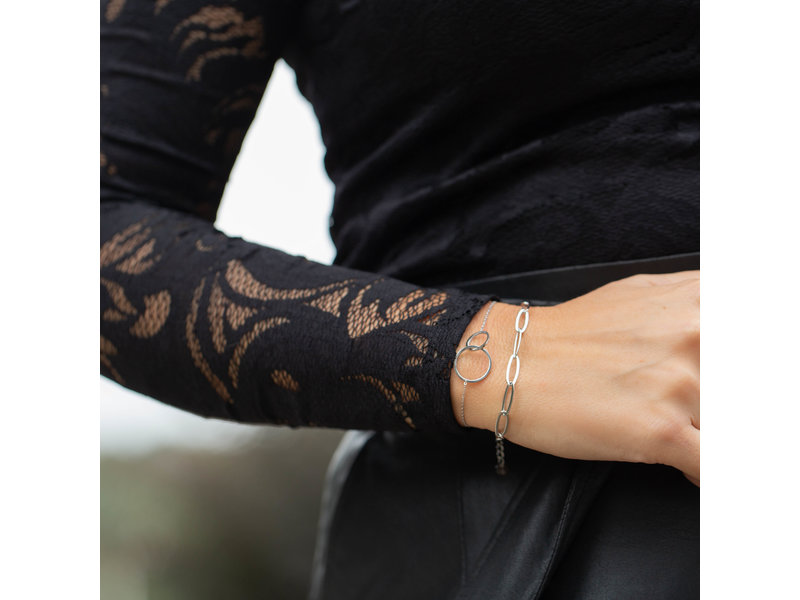 Go Dutch Label zilver armband schakels en zilver armband met rondjes