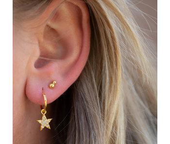 KARMA Gouden hoops oorbellen bright star zirconia
