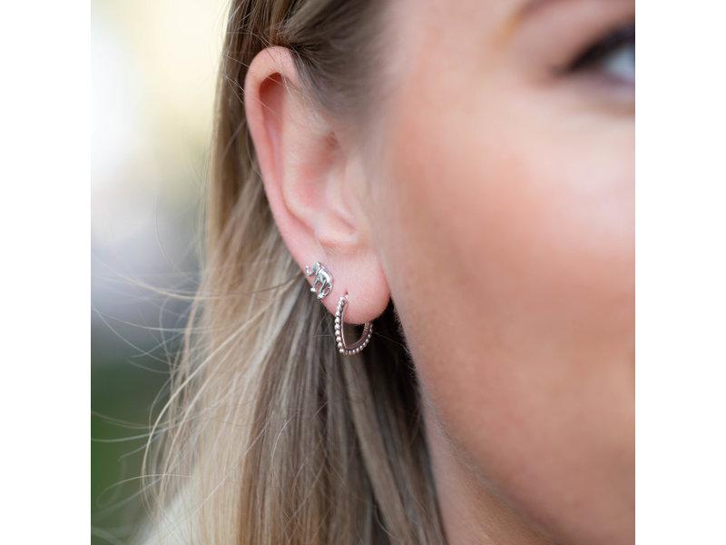 KARMA Karma zilver oorbellen bali pointy oval of olifantje