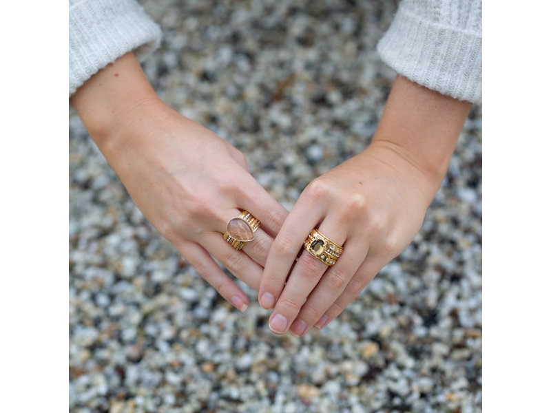 IXXXI Complete ring glamour goud facet steen