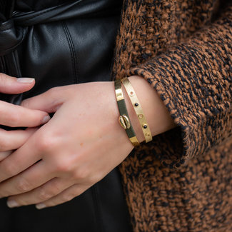 ZAG  Bijoux Bangle goud met zwarte steen