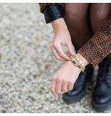 ZAG  Bijoux ZAG Bijoux bangle goud mat met zwarte steen