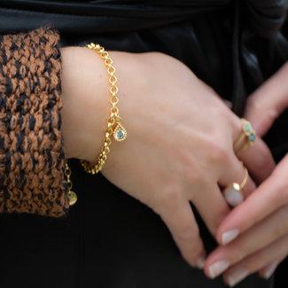 Biba Armband goud schakel met crystal steentje