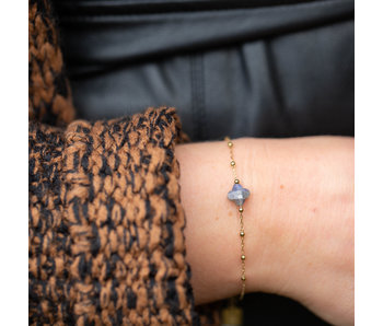 ZAG  Bijoux ZAG Bijoux Goud armband met grijze parelmoer klaver