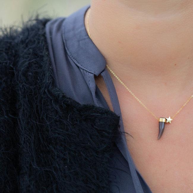 ZAG  Bijoux ZAG Bijoux ketting goud met taupe/grijze haaientand en sterretje