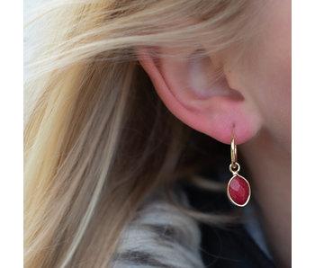 Biba Oorbellen edelsteen ovaal rood