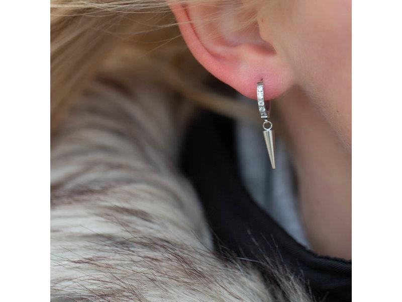 Go Dutch Label Zilver oorbellen met crystal cone