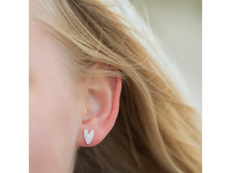 Biba Zilver oorbellen met hart
