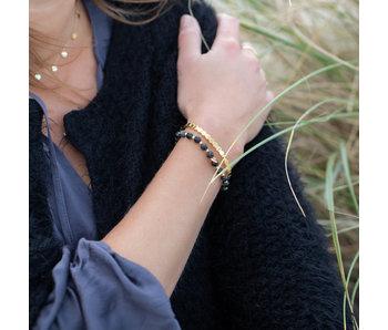 KalliKalli Goud stalen armband en natuursteen armbandje