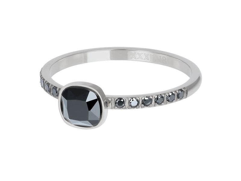 IXXXI Ixxxi ring zilver prince met zwarte steen
