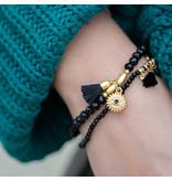 Biba Kralen bandjes zwart met goud munt en kwast