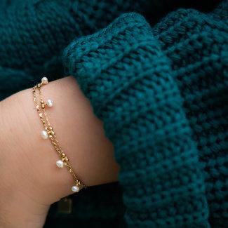 ZAG  Bijoux Goud armband met witte parels