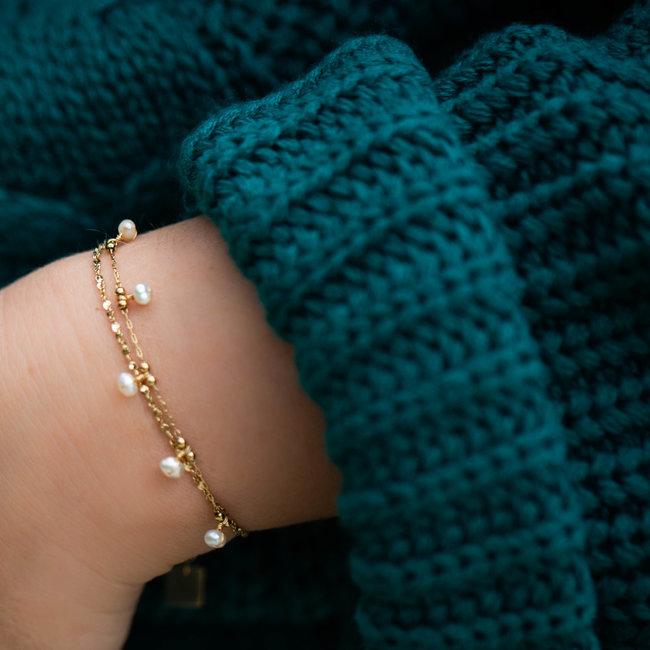 ZAG  Bijoux Goud armband met witte pareltjes