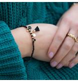 Biba Zwarte armband met kwastje en steentje
