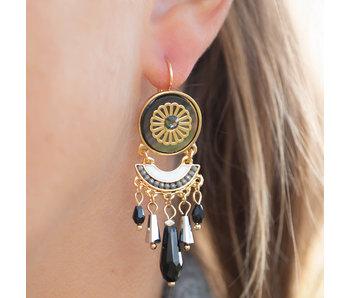 Biba Zwarte bohemian oorbellen met hangers