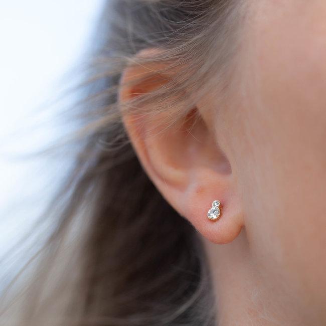 Biba Goud oorstekers met crystal bolletje