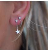KARMA Zilver oorbellen met zirconia rondje