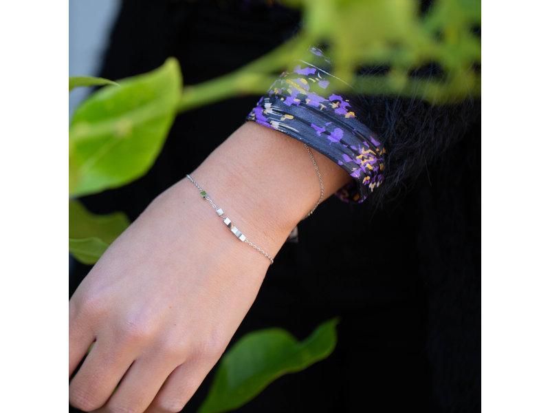 ZAG  Bijoux armband zilver met blokjes