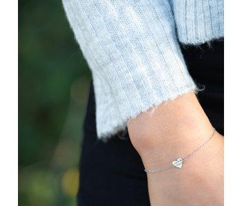 Go Dutch Label Zilver armbandje met bewerkt hart