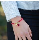 Biba Dieprode armband met goud munt en kwast