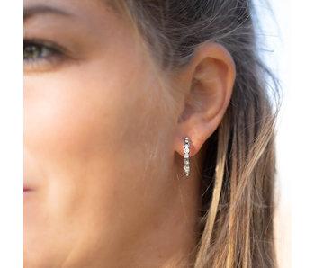 Go Dutch Label Zilver oorring creool met crystal steentjes