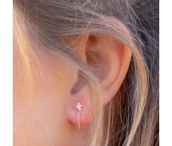 KARMA Rosegoud oorbellen met bolletjes en chain