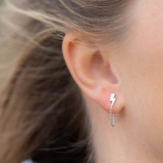 KARMA Zilver oorbellen met bliksem en ketting