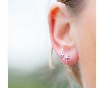 KARMA Ster oorbellen met kettinkje