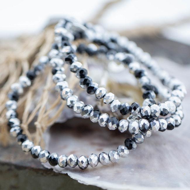 Biba Zwart zilver facet armband