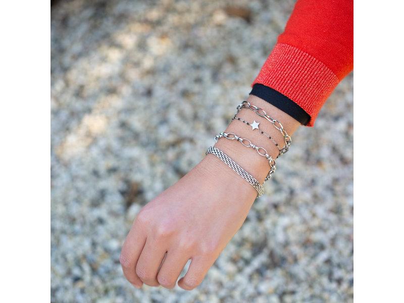 KalliKalli Platte brede schakelarmband zilver