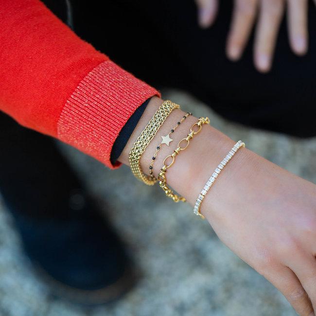 KalliKalli Goud armband met strass steentjes