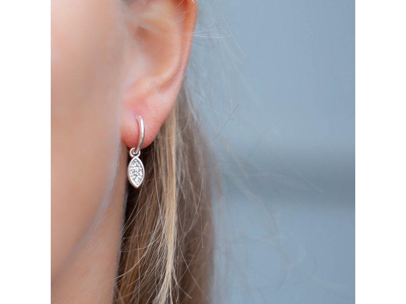 Biba Zilver oorbellen met crystal steentjes