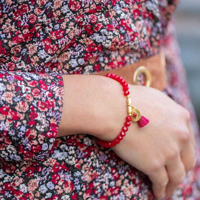 Biba Dieprode armband met munt en kwast
