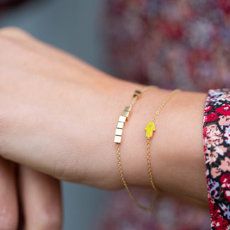 ZAG  Bijoux armband goud met blokjes