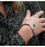 Biba Blauwe facet armband met kwast en muntje