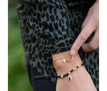 Biba Zwarte armband met ovaal bedel