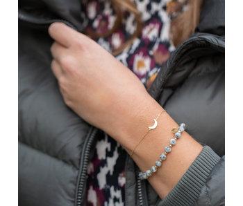 Biba Grijze natuursteen armband