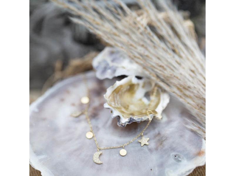 ZAG  Bijoux Goud ketting maan en ster met zirconia