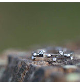 ZAG  Bijoux Zilver stalen ring met steentjes en bolletjes