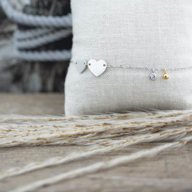 ZAG  Bijoux zilver hart armband