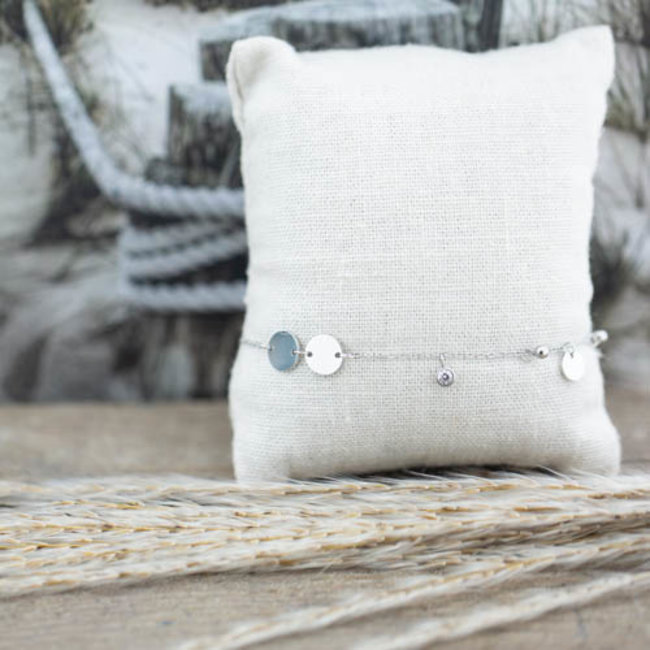ZAG  Bijoux Zilver armband munt en glimmertje
