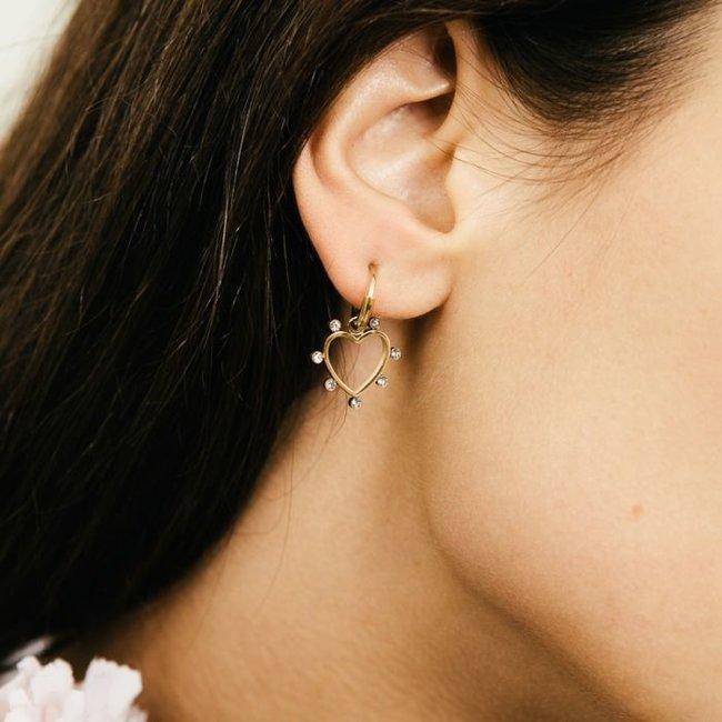 Beadle Goudkleurige oorbellen hart en steentjes