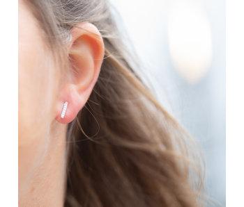 Go Dutch Label Zilver earstuds crystal staaf
