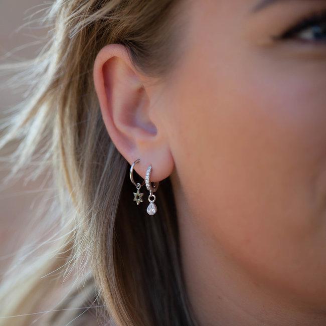 KARMA Zilver sterke oorbellen of oorringen open ster klein