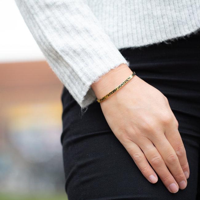 KalliKalli Goud stalen armband met tijger printje