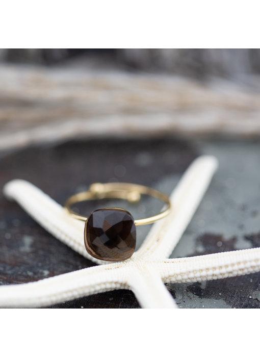 ZAG  Bijoux Gouden ring met grote steen donkerbruin