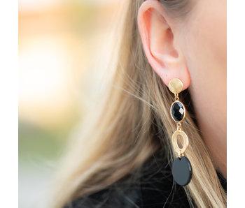 Biba Lange oorbellen met zwarte facet steen