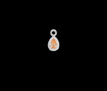 Eline Rosina Zilver druppel pendant met licht oranje steen