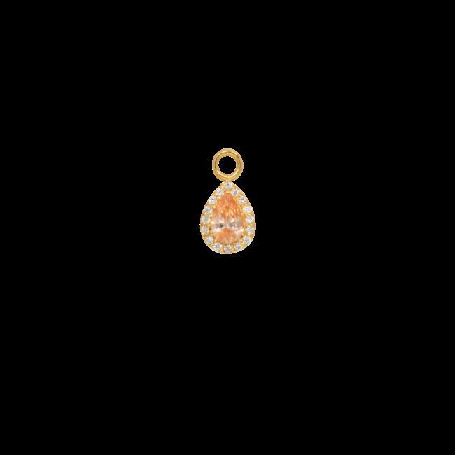 Eline Rosina Goud druppel pendant met licht oranje steen